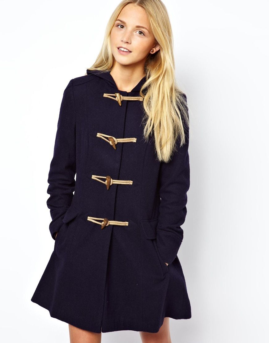 Ladies Hooded Duffle Coat