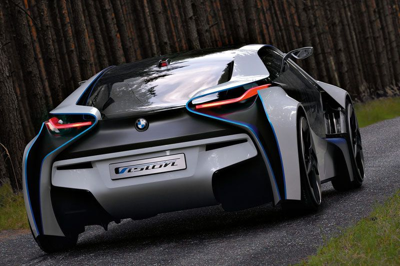 BMW I8 Concept Supercar   Rear View Of New BMW Concept, Displays New  Lighting System And Innovated Rear Body Design For Maximum Speed.