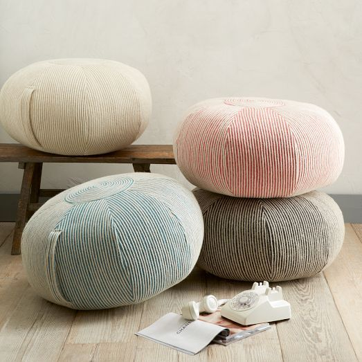 Round Swirl Pouf Floor Pillows And