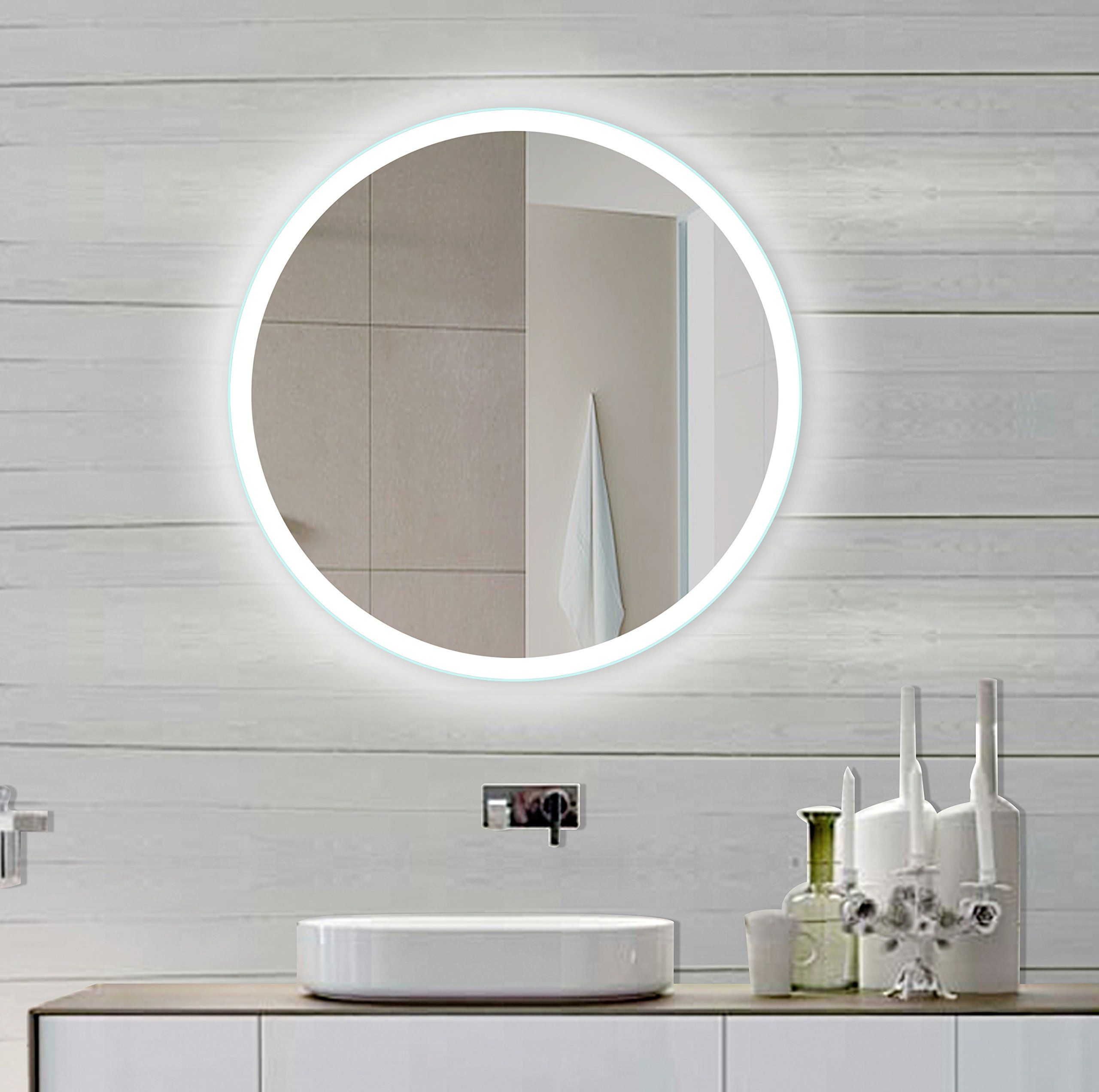 Amazon Com Backlit Bathroom Mirror Round 32 X 32 In Backlit