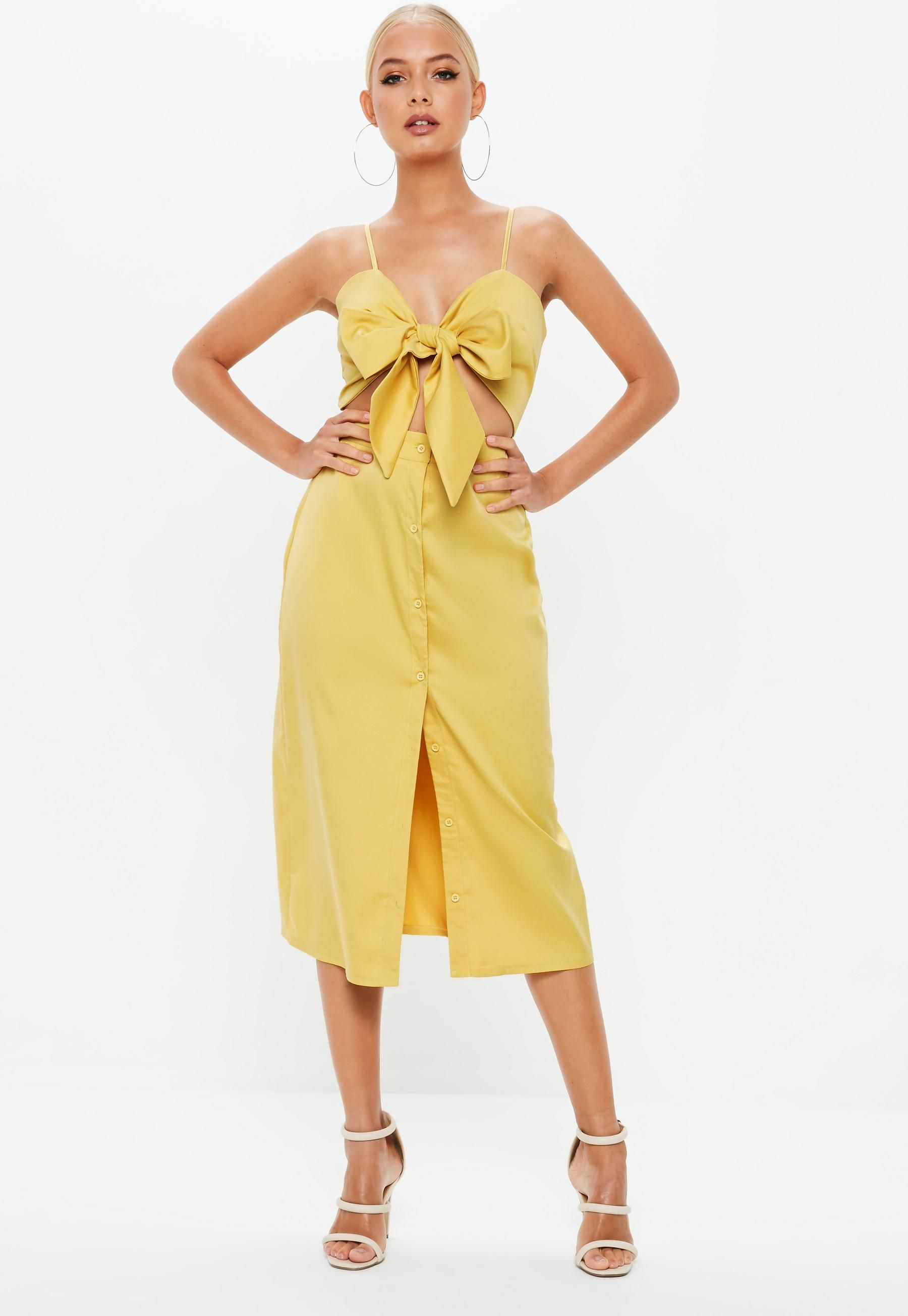 6fe2cdb2 Mustard Tie Front Button Down Strappy Midi Dress | Missguided $42