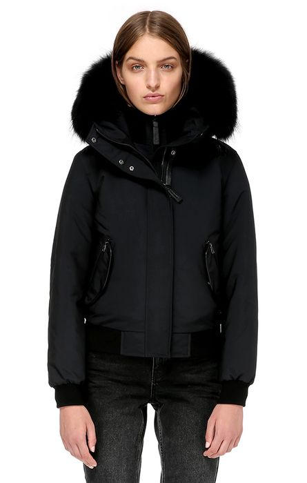 a2a789c1f BRITNIE BOMBER CUT DOWN JACKET WITH BLACK FUR,Black | all wishes ...