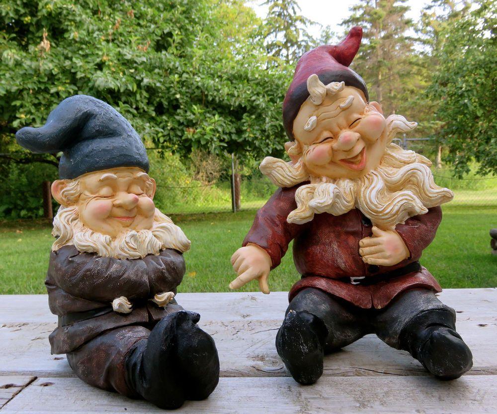 Garden Gnome BROTHERS Lawn Ornament Statue POINTS FINGER LAUGHSNOME ...