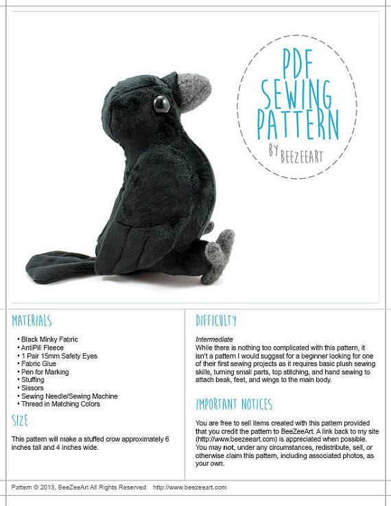 Crow Plush, Raven Plush, Bird Stuffed Animal Sewing Pattern, PDF ...