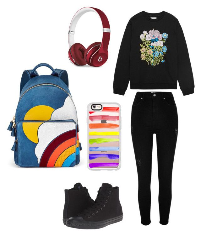 """""""RAINBOW"""" by x-julia ❤ liked on Polyvore featuring River Island, Christopher Kane, Anya Hindmarch, Casetify, Converse and Beats by Dr. Dre"""