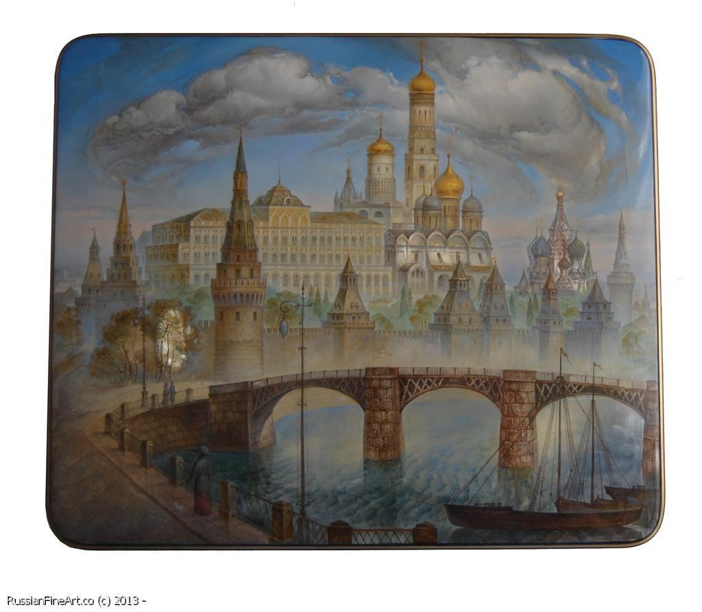 "Vladimir Monashov ""Moscow Kremlin"" - box, Fedoskino lacquer painting. $4050.00"