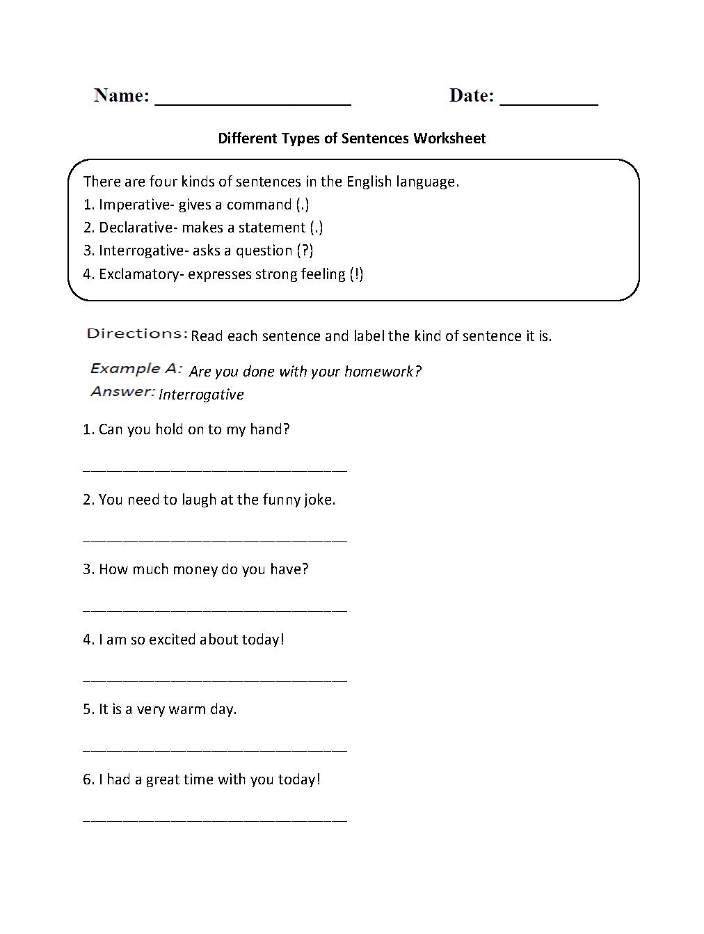 Different Types of Sentences Worksheet | Types of sentences ...