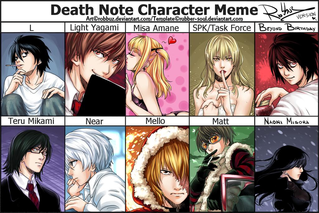 Death Note Character Meme by Robbuz.deviantart.com on @deviantART