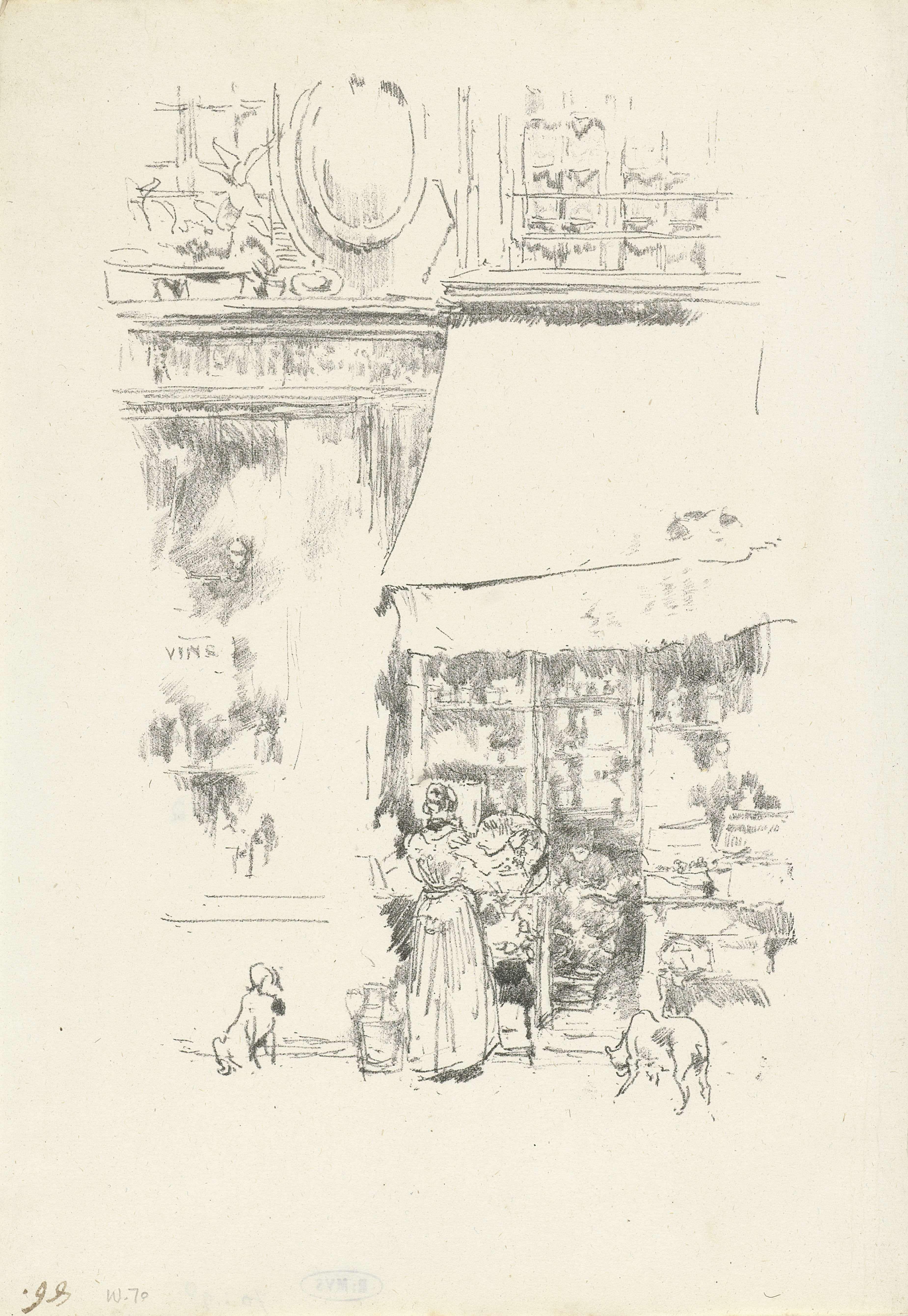 James Abbott McNeill Whistler | De groentewinkel op de rue de Grenelle in Parijs, James Abbott McNeill Whistler, Thomas Robert Way, 1894 | Winkelpui van de groentezaak op de rue de Grenelle in Parijs. Een vrouw is bezig met de uitstalling.