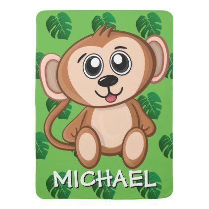 Cute Safari Monkey Green Cartoon Jungle Name Baby Blanket