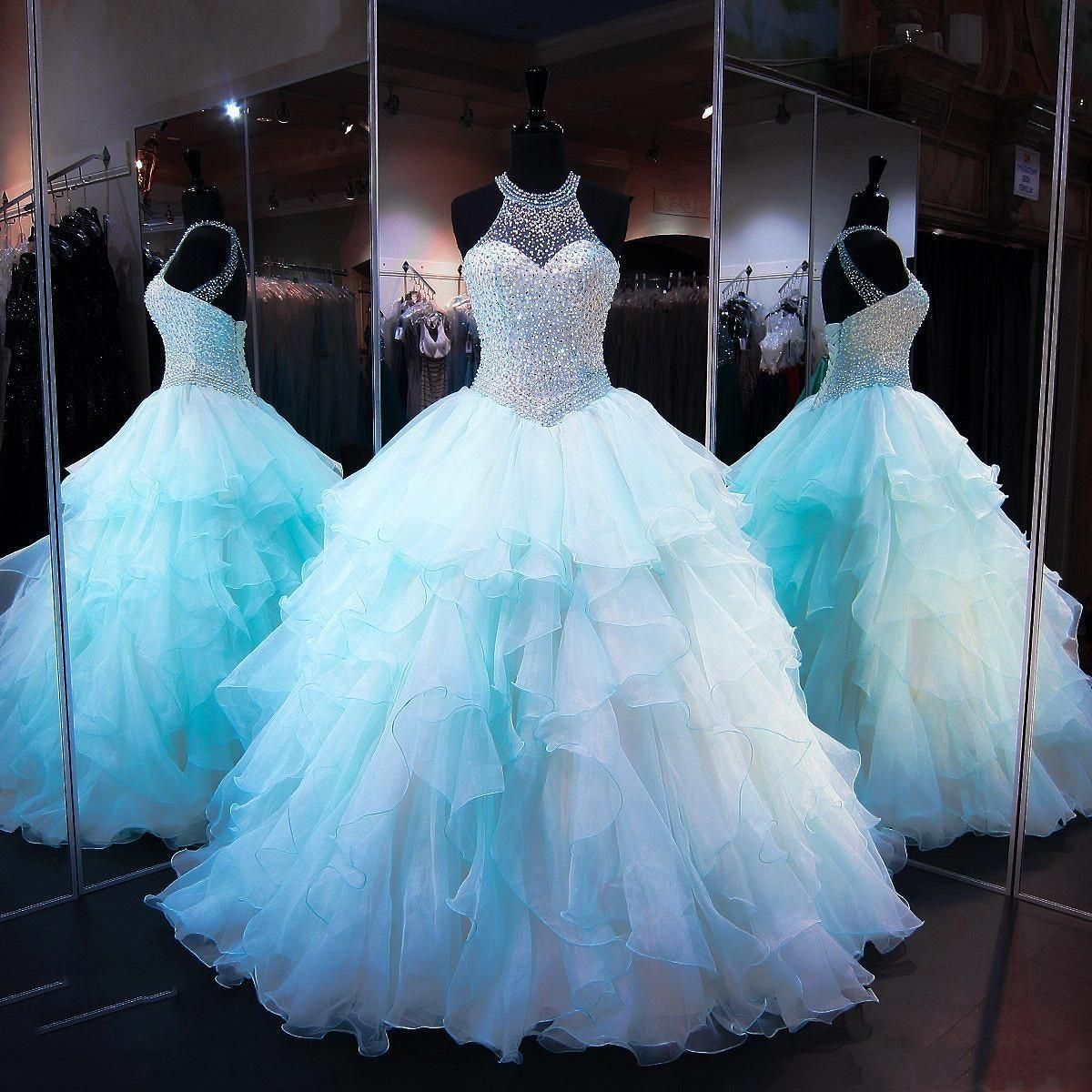 Aqua quinceanera dresses 2018 modest masquerade ball gown