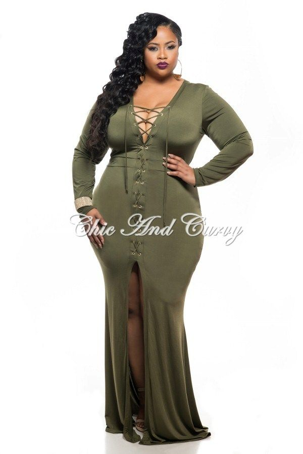 New Plus Size BodyCon Long Dress with Front Slit and Tie Lace Up ...