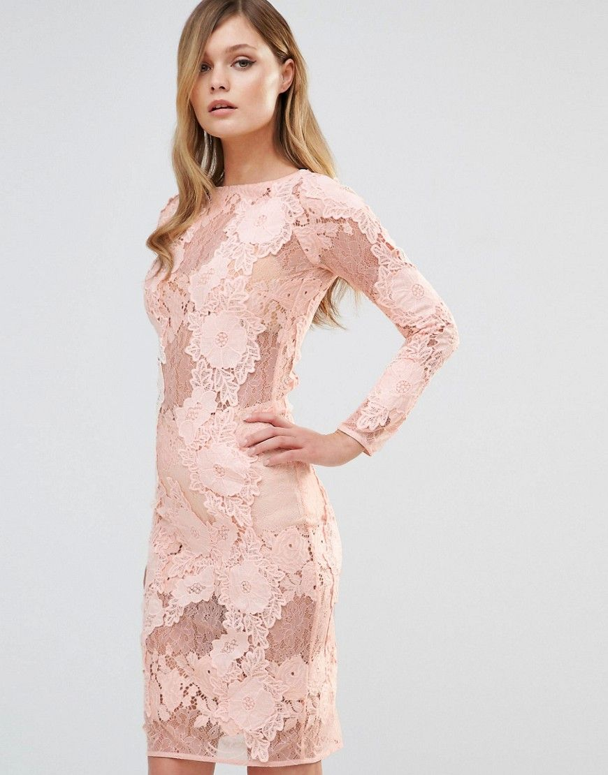 Dark Pink Long Sleeved Lace Midi Dress | Fashion | Pinterest