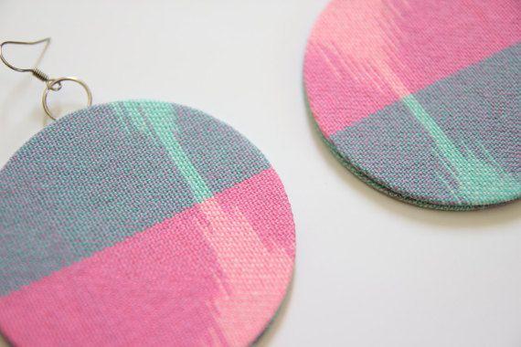 Mini Moonface Ikat Earrings - Pink and Blue