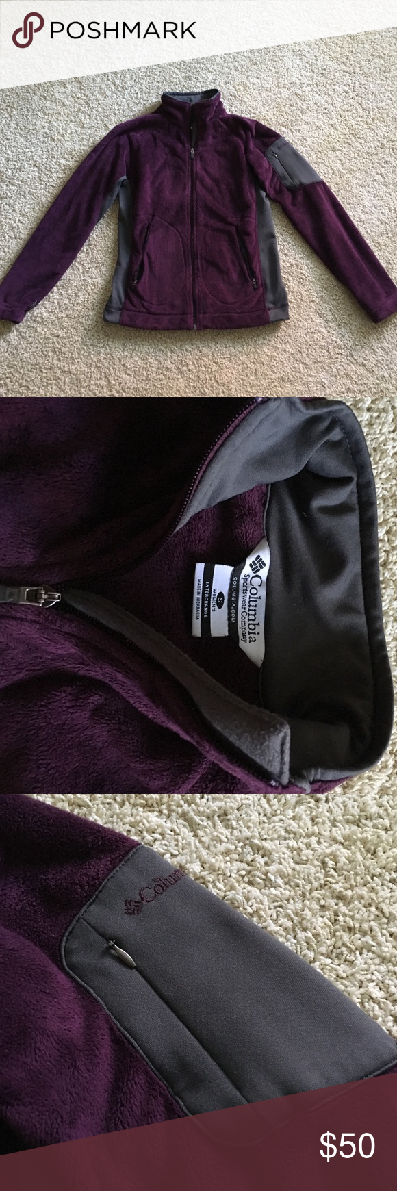 Columbia fleece in deep purple with grey details. Columbia plush fleece in deep purple with grey details.  This jacket is in fantastic condition, only worn a few times.  It's cozy & perfect for Fall.  There are 2 side zip pockets deep enough for keys & a phone & a pocket on the left arm.  There are little toggles inside to cinch up the waist. Columbia Jackets & Coats