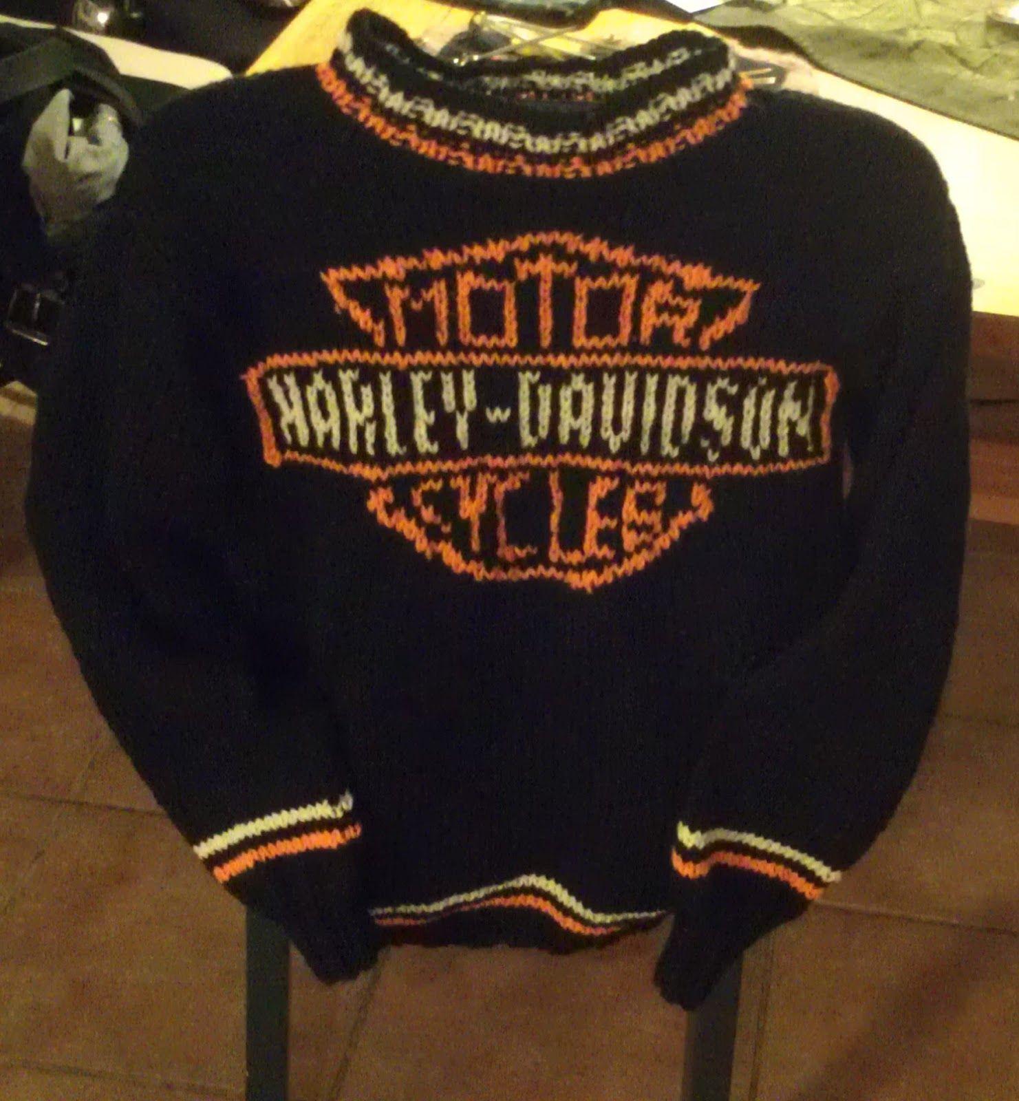 Da var Harley genser nr 3 i voksne str ferdig . Kjenner jeg