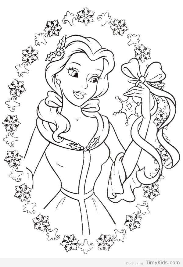 Disney Princess Belle Christmas Coloring Pages Disney