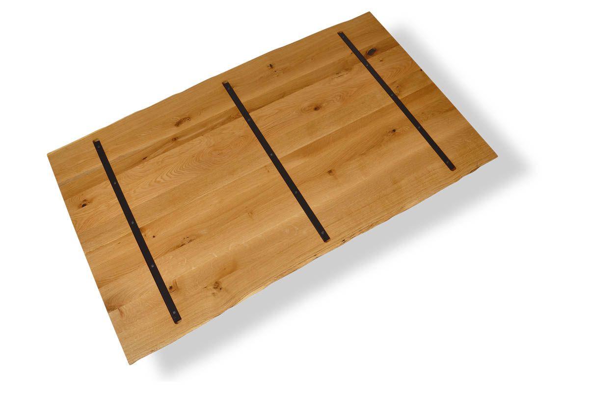 Massivholz Tischplatte In Eiche Mit Stahlkernen Massivholz Tischplatte Holz Massivholz Arbeitsplatte