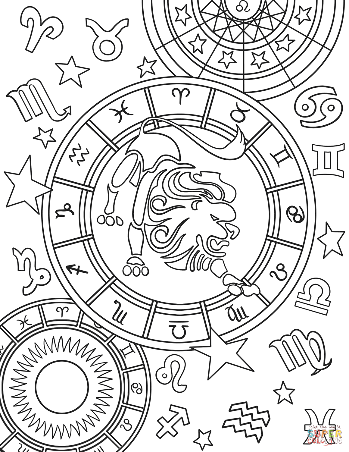 Printable Coloring Pages Zodiac Signs