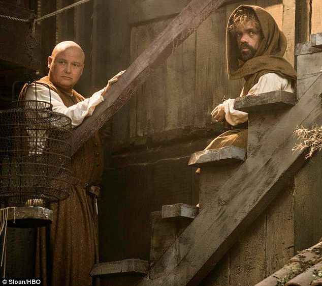 On the run: Peter Dinklage as Tyrion Lannister had a confidential talk with Conleth Hill as Varys