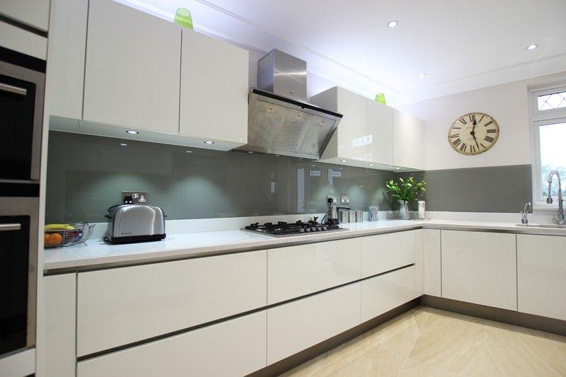 Haddington White High Gloss Lacquer Kitchen White worktop, wood floor, grey  walls | Kitchen | Pinterest | Kitchen white, High gloss and Kitchens