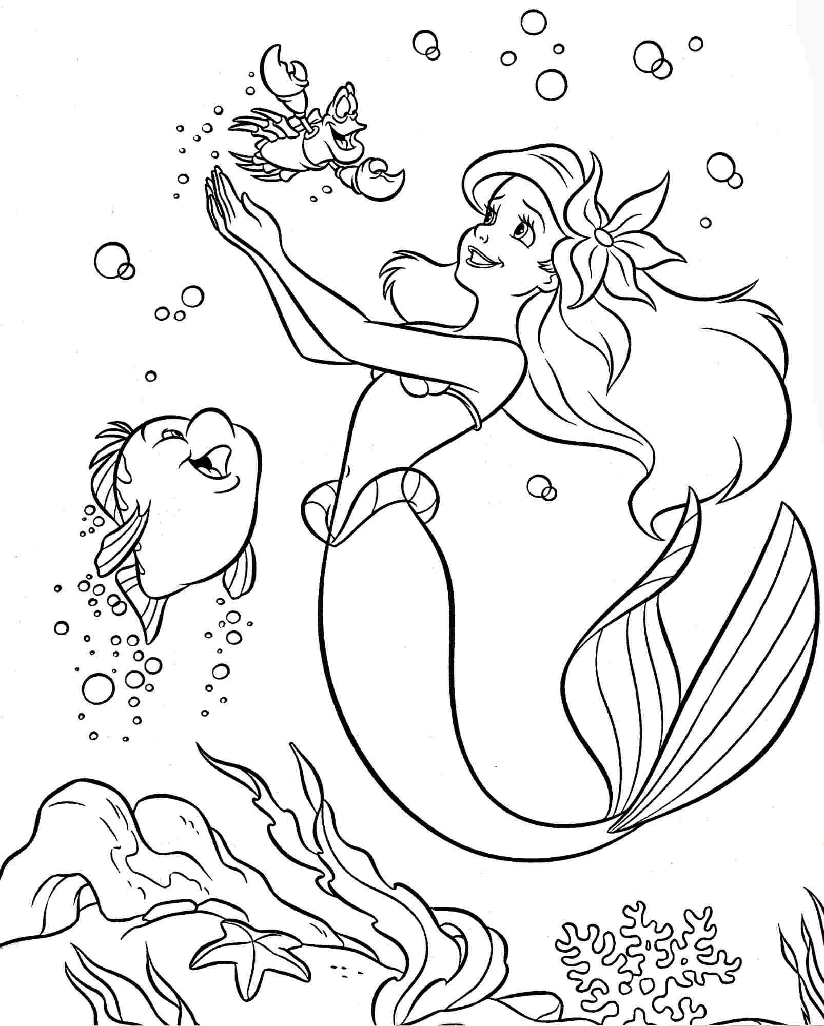 Colouring pages coloring pages disney princess little for Free princess ariel coloring pages