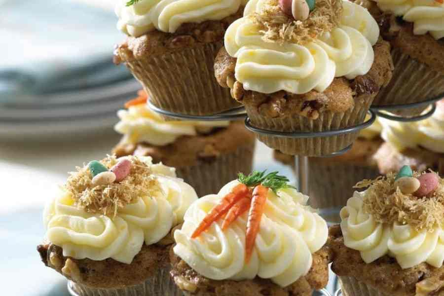 Carrot walnut cupcakes with lemon buttercream frosting