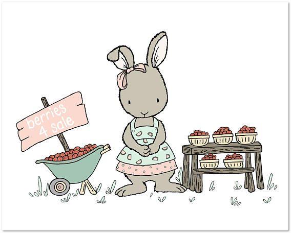 Bunny Nursery Art Berries For S Strawberry Stand Children