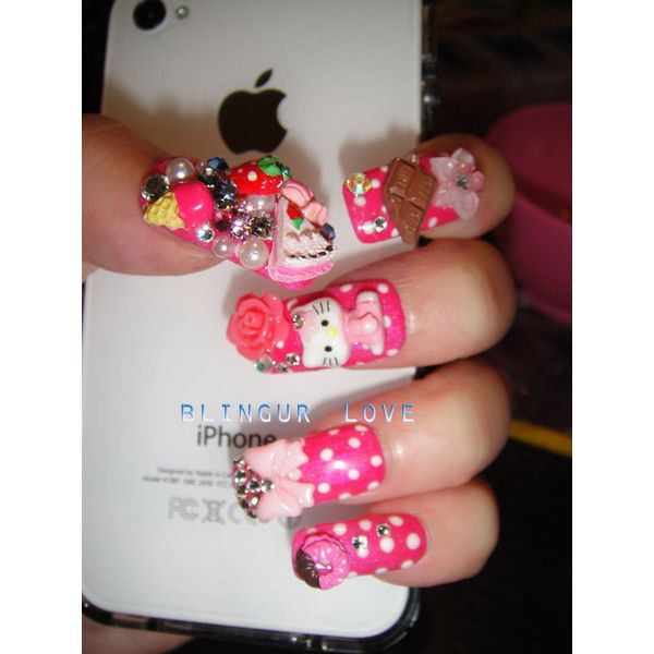 bling Japanese hello kitty pink deco nail art Fake Nails Set made ...