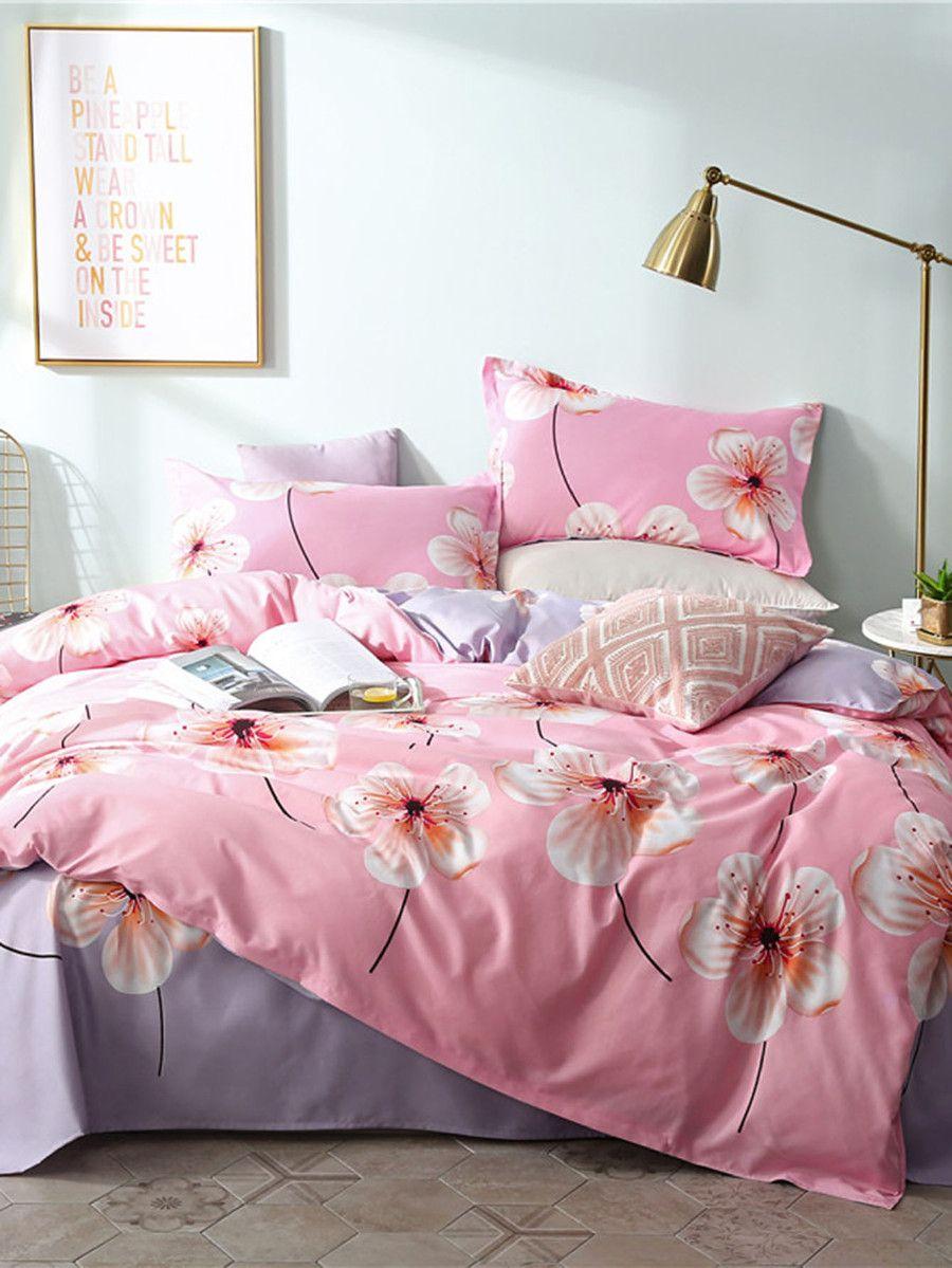 Allover Flower Print Sheet Set SheIn(Sheinside) Bed