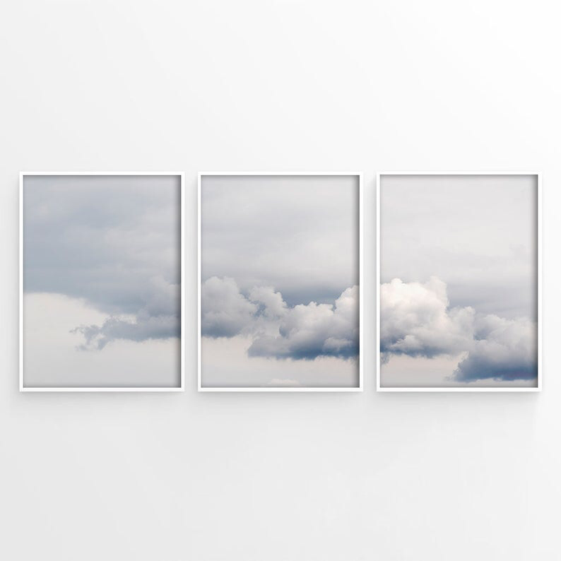Cloud Photo Set Of 3 Prints Light Blue Wall Art Baby Blue Etsy Blue Wall Art Baby Wall Art Clouds Printable