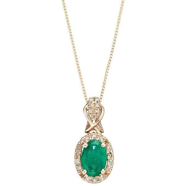 10k gold emerald 16 carat tw diamond halo pendant necklace 10k gold emerald 16 carat tw diamond halo pendant necklace 580 aloadofball Image collections