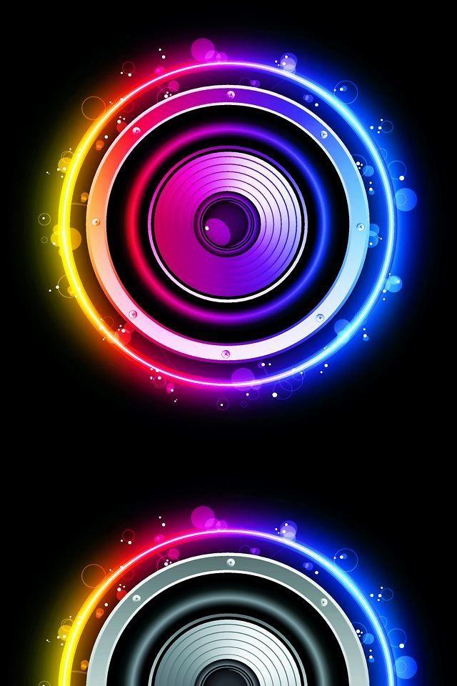 Colorful Booming Speakers Psychedelic Art Colorful Wallpaper Light Art Speaker iphone wallpaper hd wallpaper
