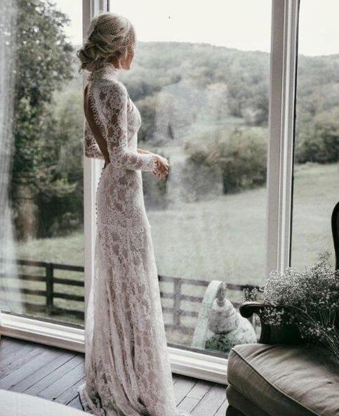 Country Mermaid Wedding Dresses High Neck Lace Backless Long Sleeve Sweep Train Bridal Gowns Plus Size Robe De Mariée #weddingdresses