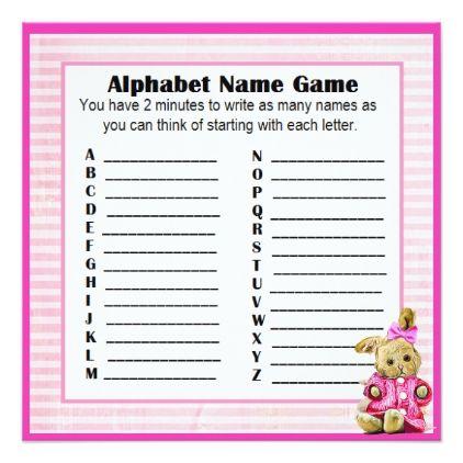 Baby shower alphabet name bingo game pink bunny card negle Gallery