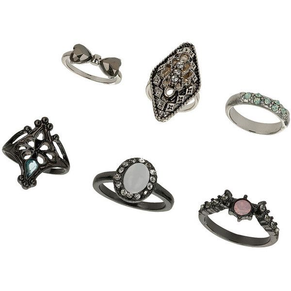 Miss Selfridge Pastel Rhinestone Ring Pack ($4) ❤ liked on Polyvore featuring jewelry, rings, accessories, silver, pastel jewelry, set rings, mid finger rings, midi rings and mid knuckle rings