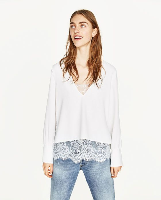 88810c5d Image 2 of CONTRAST LACE TOP from Zara | pinksoh* Fashion/Beauty ...