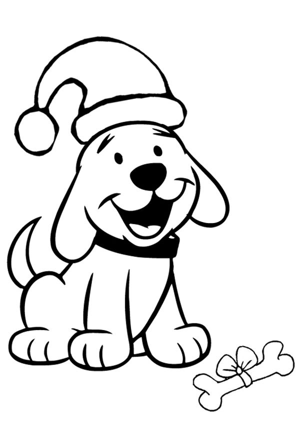 Free Online Christmas Puppy Colouring Page Christmas puppy Kid