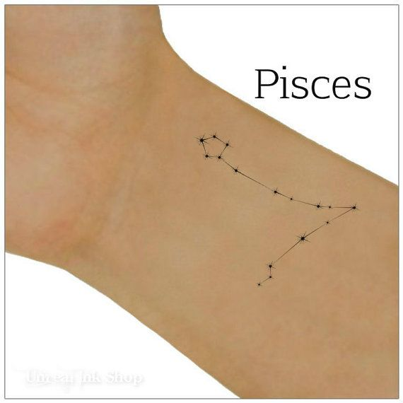 Pisces Temporary Tattoo Zodiac Star Constellation