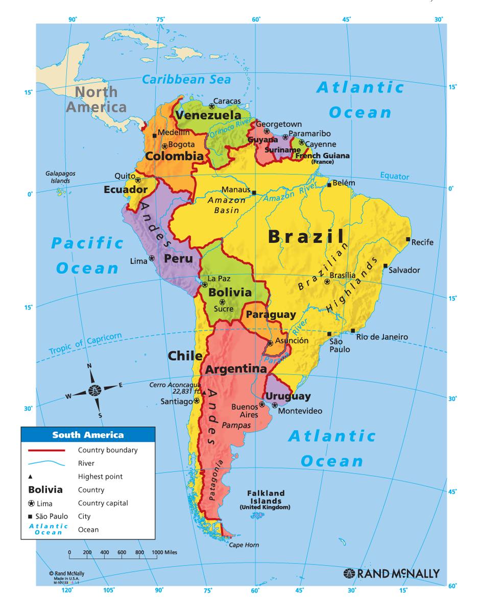 South America Map Thinglink At Interactive Physical Of Latin Mapa De America Viajes A Miami Rio De Janeiro