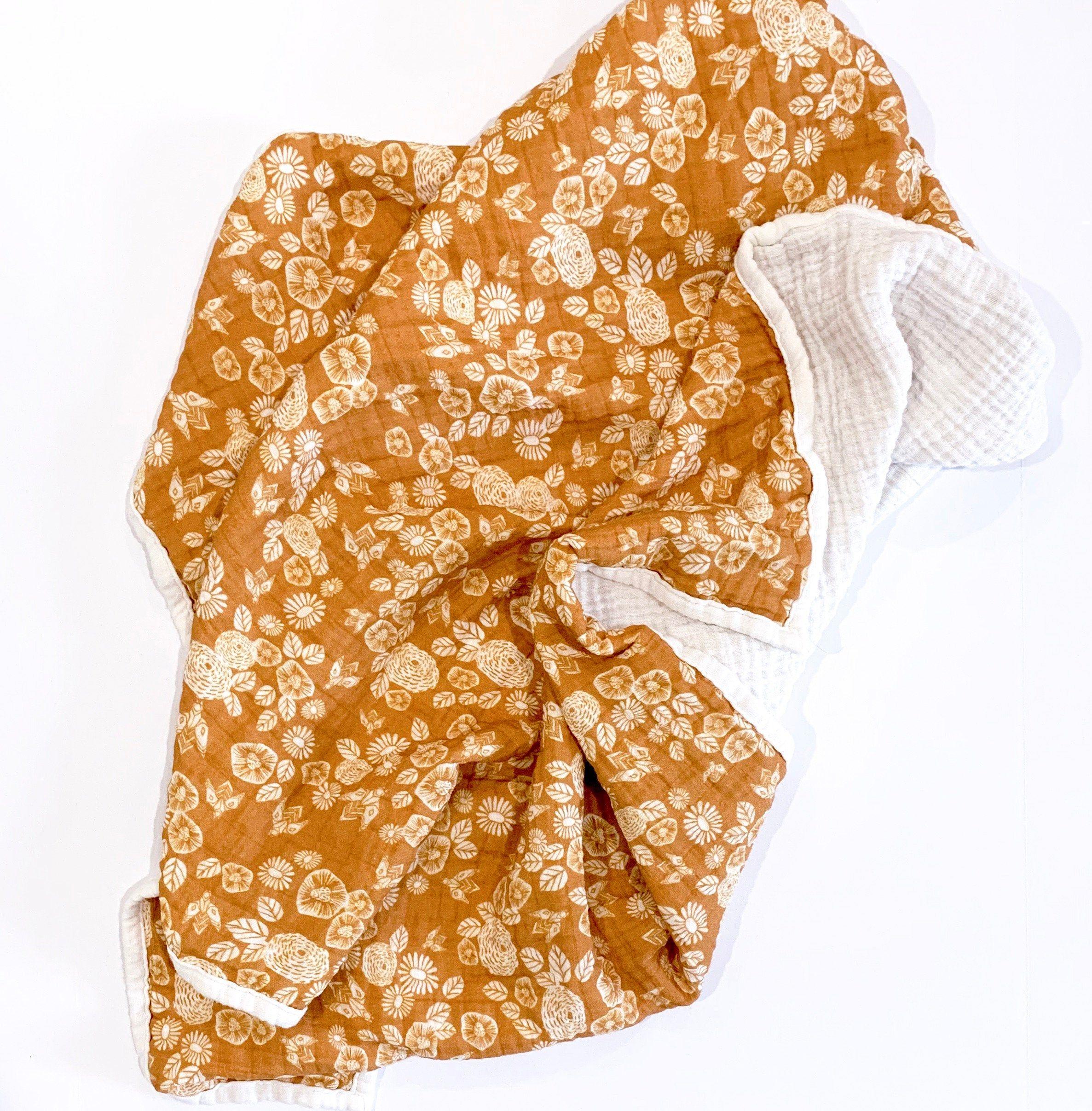 Mustard Florals Deluxe Muslin Quilt Bee Garden Baby Blanket Double Gauze Yellow Gold Marigold Earth Tones G Baby Girl Shower Gifts Quilts Toned Girls
