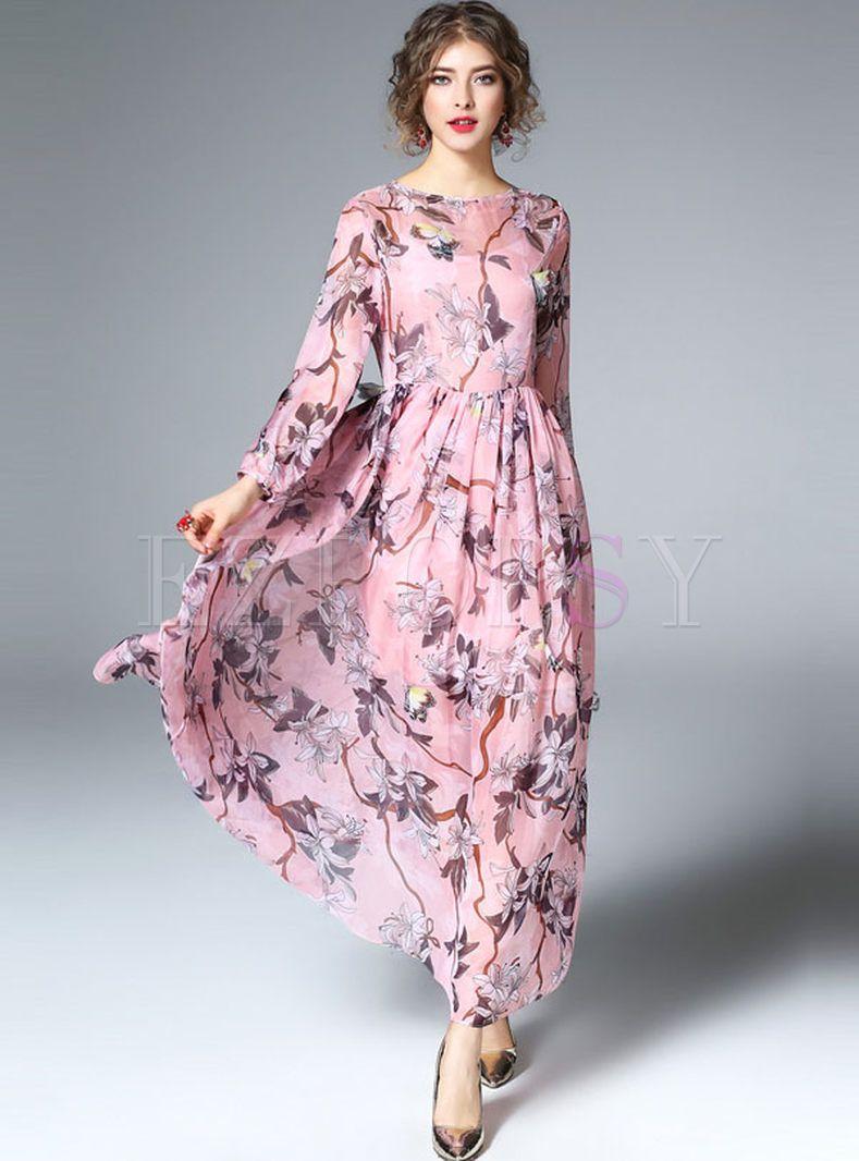 Elegant floral print long sleeve maxi dress with underskirt art
