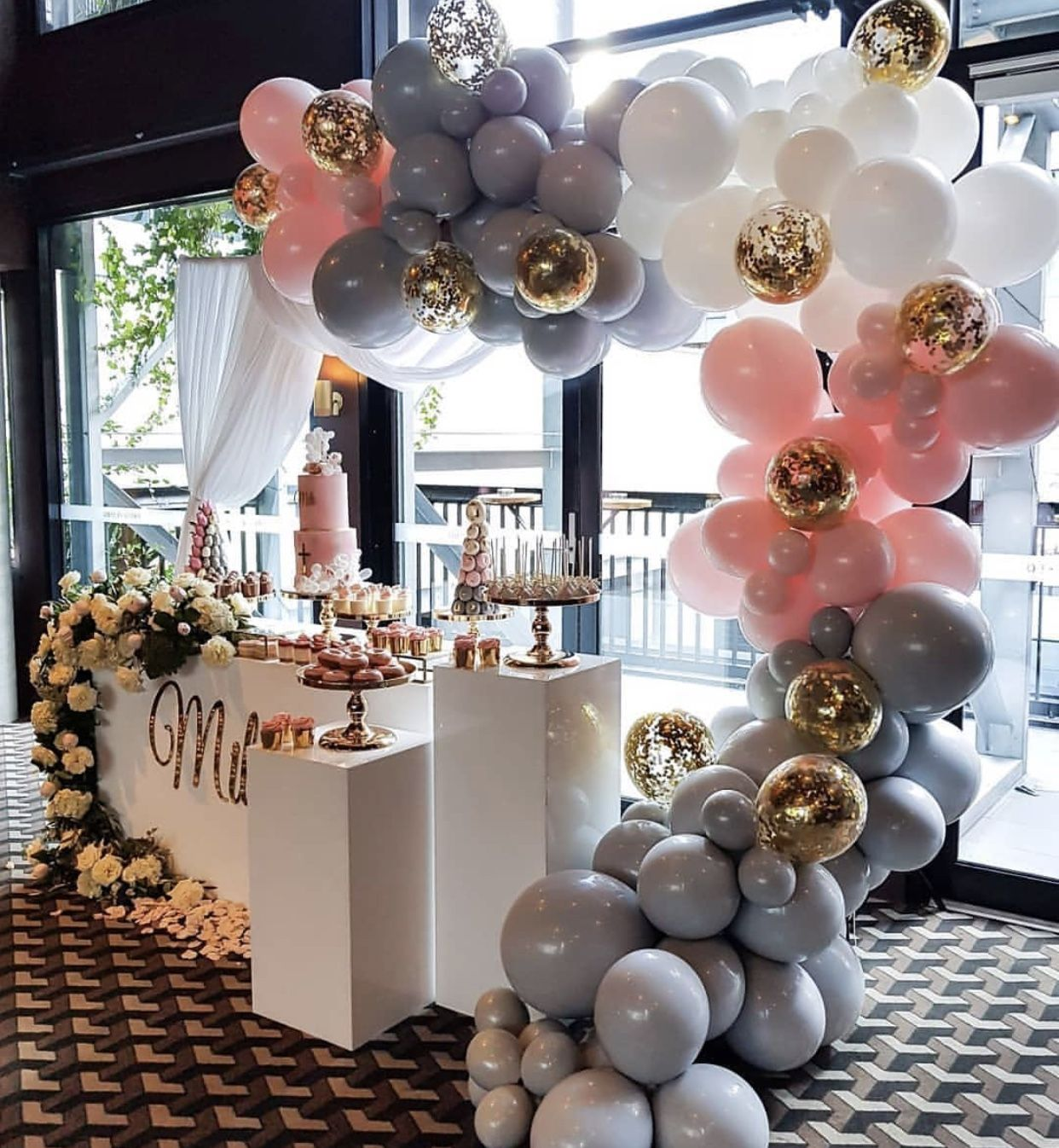 Pink Gray White Gold Theme Baby Shower Balloons