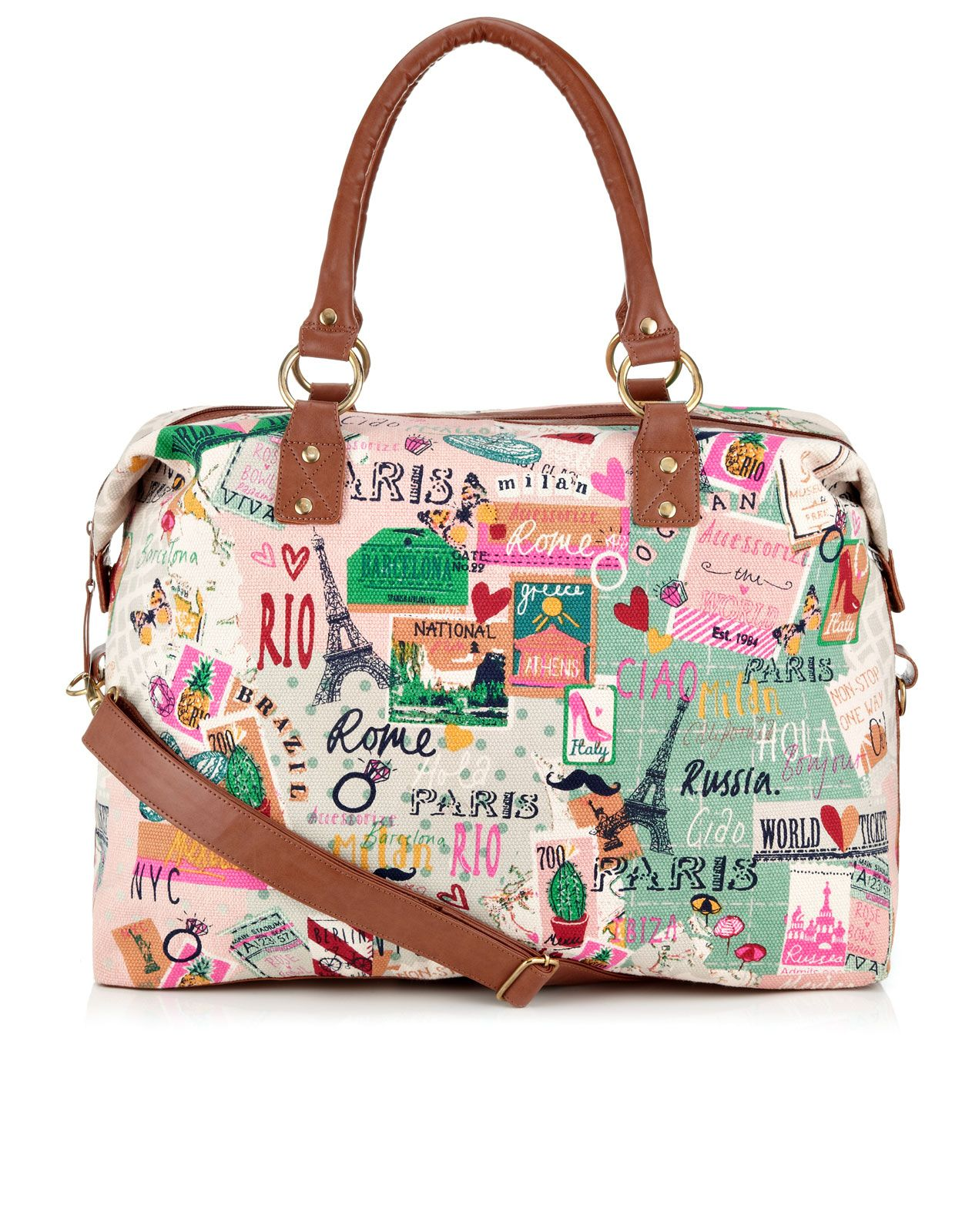 Map Print Weekender | Multi | Accessorize | bags | Pinterest | See ...