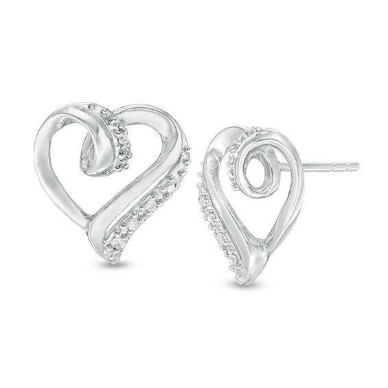 Zales 1/20 CT. T.w. Diamond Beaded Frame Heart Stud Earrings in Sterling Silver 1MYKJbhs