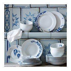 PROMENAD Bowl, white, dark blue - IKEA