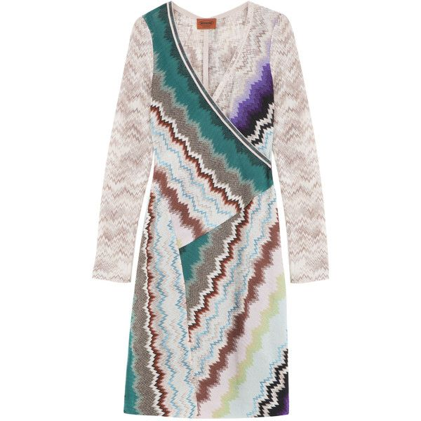 MISSONI Patterned Wrap Dress (€1.450) ❤ liked on Polyvore featuring dresses, colorful dresses, wrap dress, multicolor dress, special occasion dresses and colorful cocktail dresses