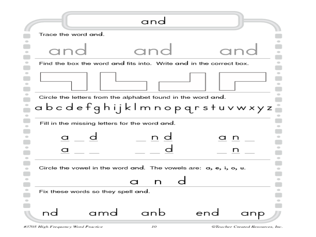 High Frequency Words And Worksheet