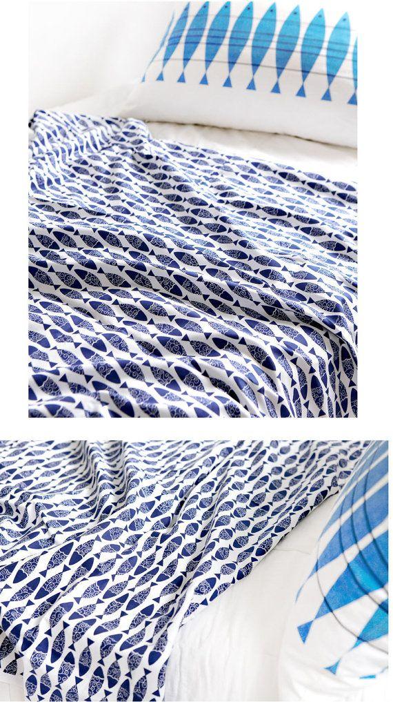Tessuto di cotone blu marino aringa dal cantiere di landofoh