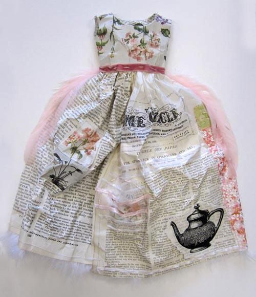 ℘ Paper Dress Prettiness ℘ art dress made of paper by Leonie Oakes